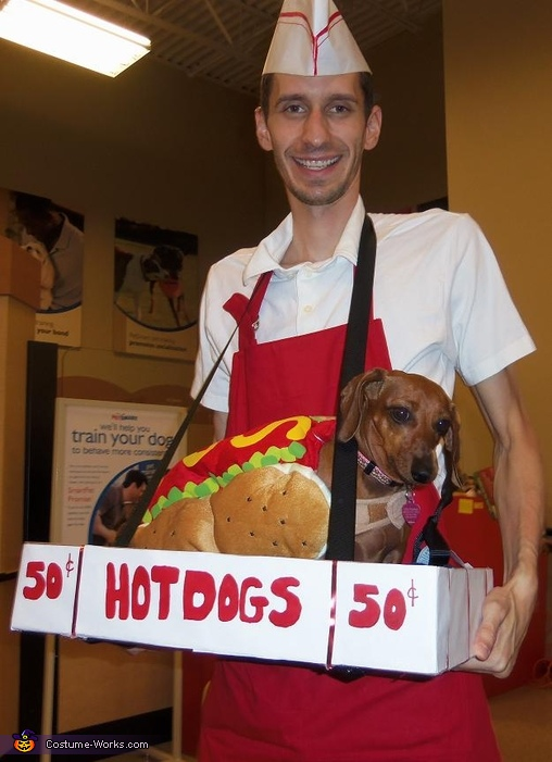 Hot Dog Vendor and Hot Dog Costume | 25+ Creative Costumes for Dogs
