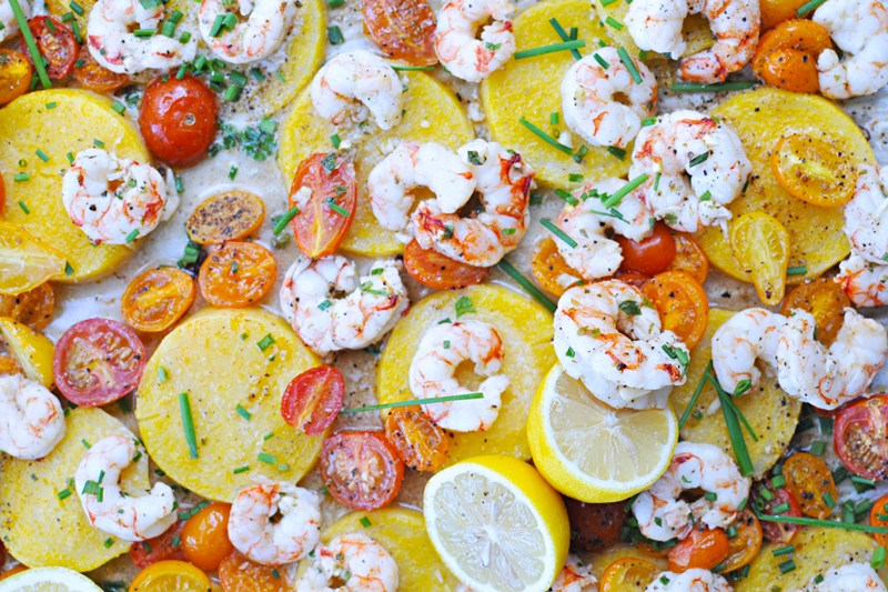 Shrimp Polenta | 25+ Sheet Pan Dinner Recipes