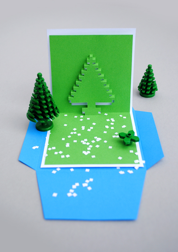 Christmas pixel popup card | 25+ Handmade Christmas Cards
