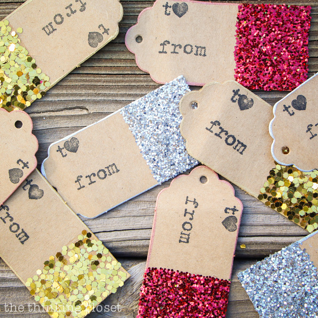 Glitter Dipped Gift Tags | 25+ Handmade Christmas Cards