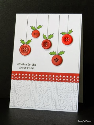 Holly Berry Button Card | 25+ Handmade Christmas Cards