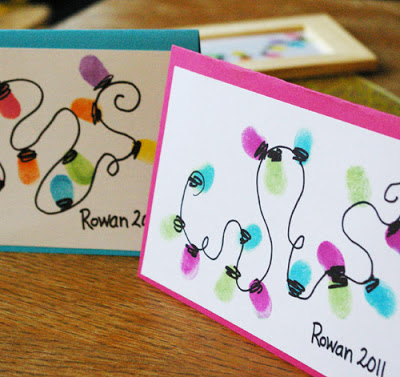 Thumb Print String of Lights | 25+ Handmade Christmas Cards