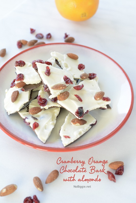 Cranberry Orange Chocolate Bark with Almonds| 25+ Edible Christmas Gifts
