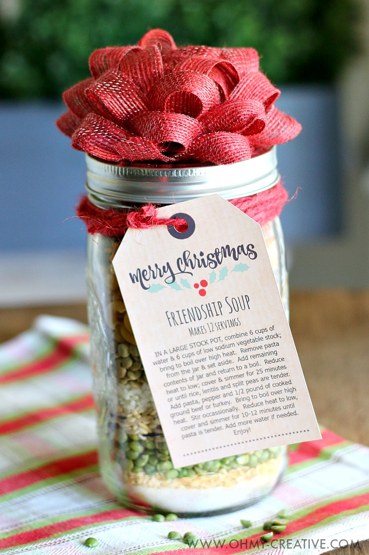 Friendship Soup in a Jar Gift | 25+ Edible Christmas Gifts