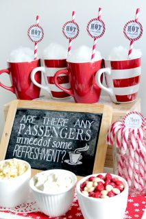 Polar Express Hot Refreshments Chalkboard Poster | 25+ Polar Express Party Ideas