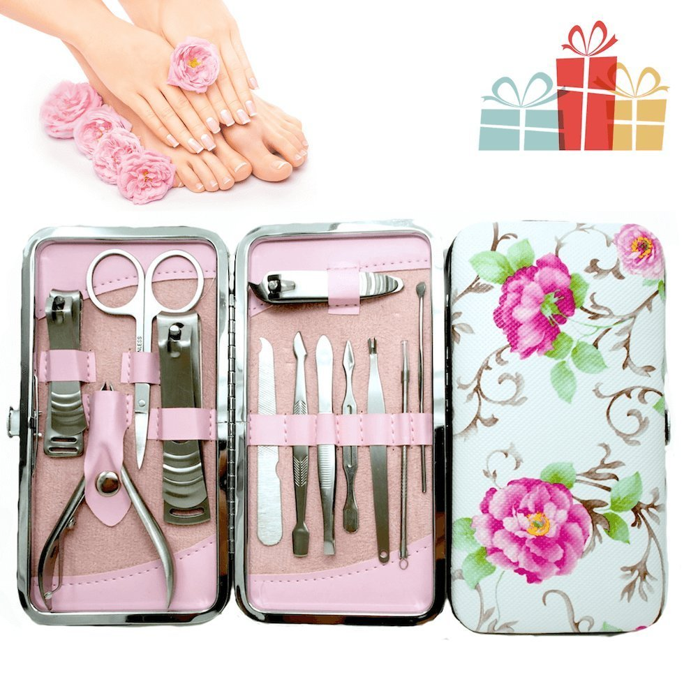 Stainless Steel Manicure Pedicure Set with Beautiful Rose Leather Case | 25+ Valentine's Day gifts for her