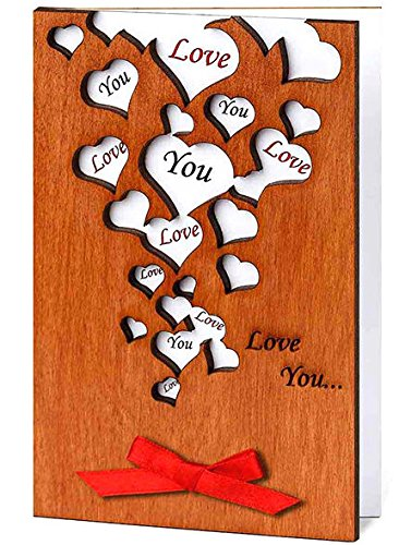 Handmade Wooden Love You Many Hearts Card | 25+ Valentine's Day gifts for her