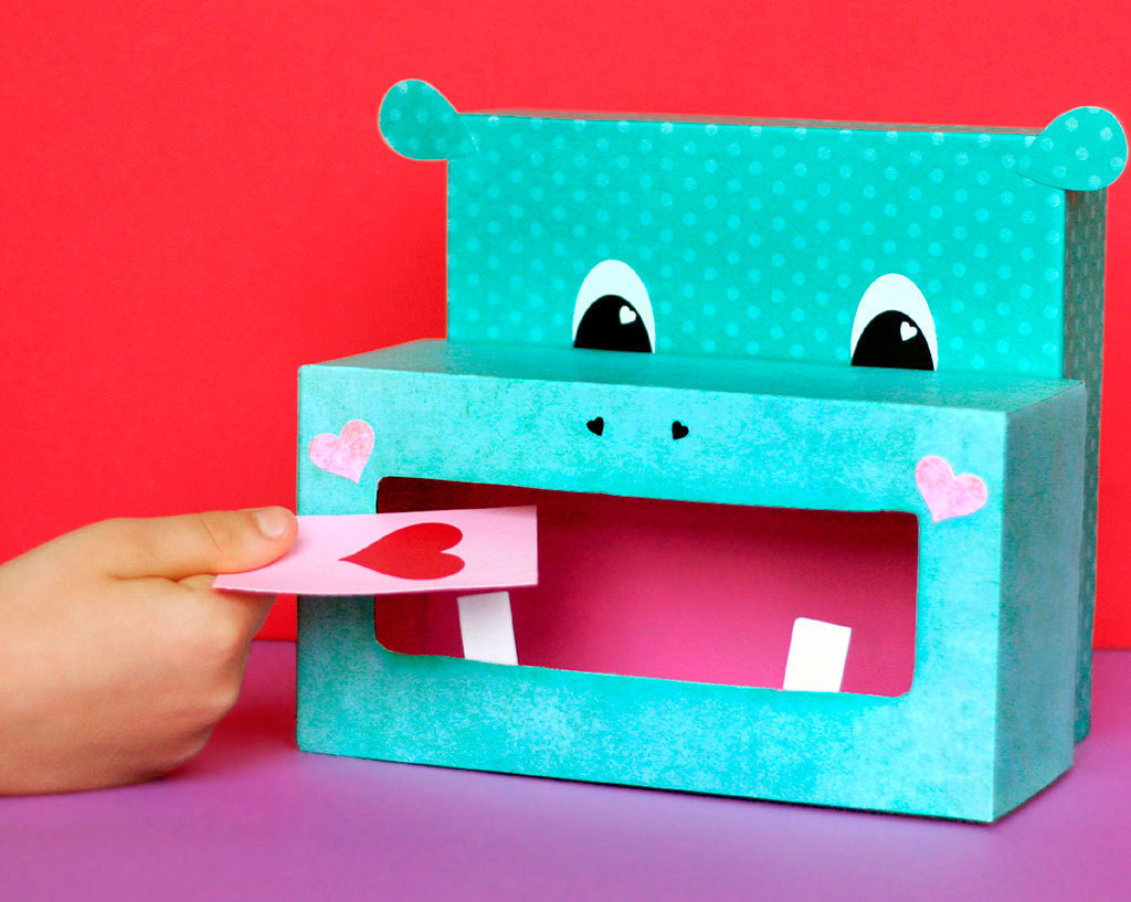 Hippo Valentine Box | 25+ Valentine Boxes for Girls