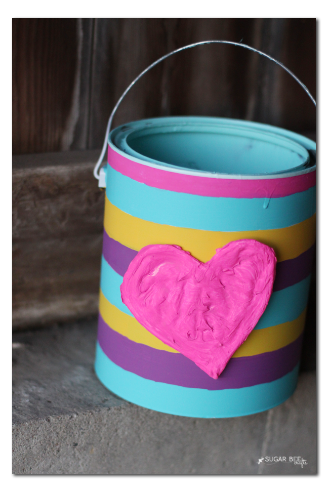 Up Cycled Valentine Bucket | 25+ Valentine Boxes for Girls