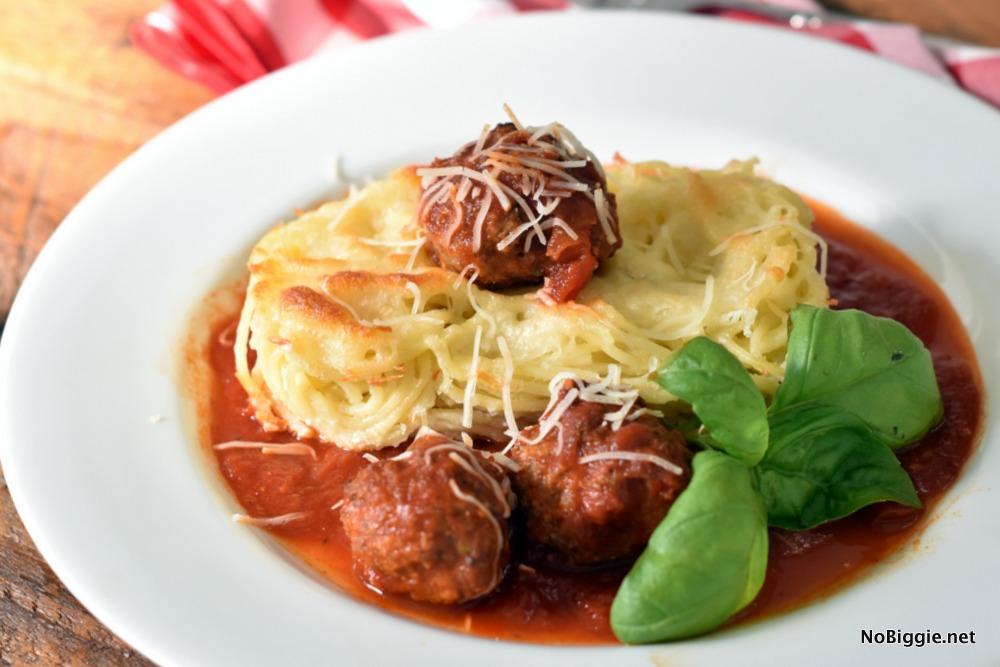 Baked Spaghetti and meatballs | NoBiggie.net