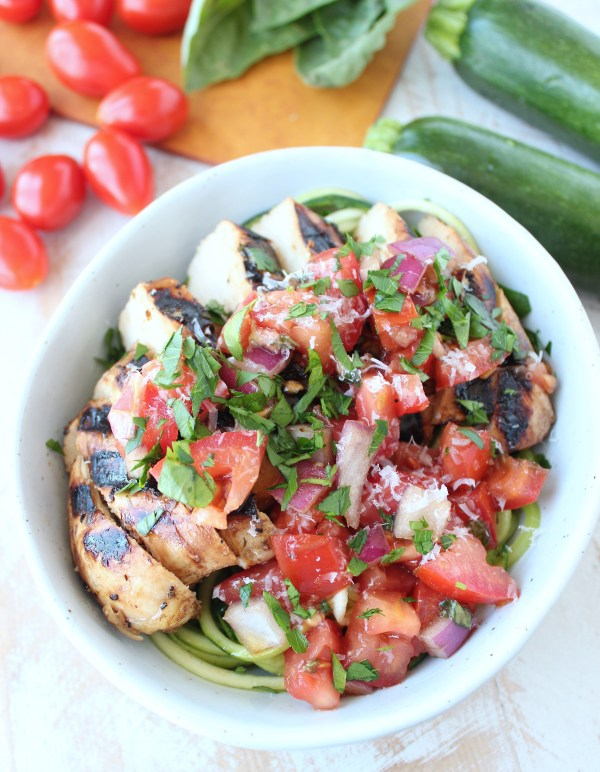 Bruschetta Grilled Chicken Zoodle Bowls   25+ Zoodle Recipes