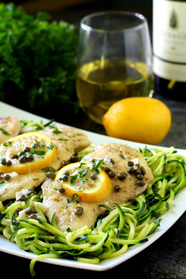 Chicken Piccata Over Zucchini Noodles | 25+ Zoodle Recipes