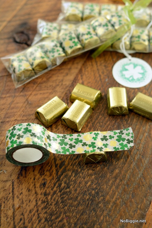 Chocolate Nuggets with washi tape wrappers and printable gift tag