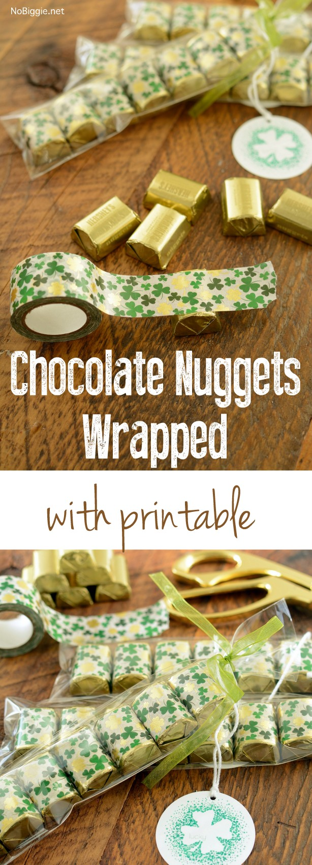 Chocolate Nuggets wrapped in washi tape with printable gift tag