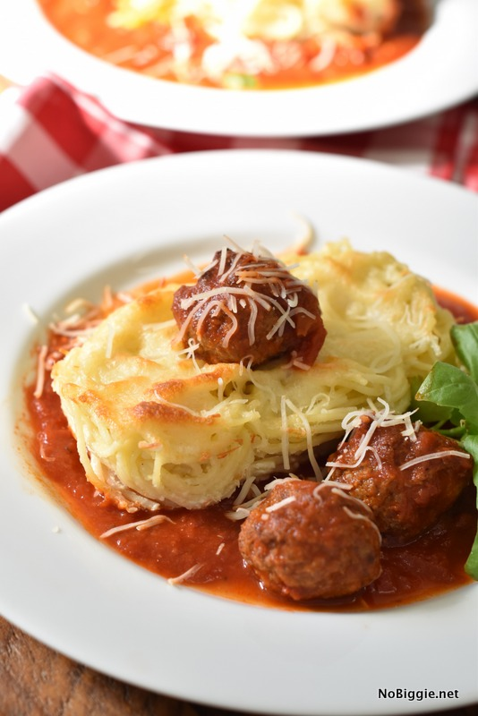 Creamy Baked Spaghetti with the best Italian Meatballs | NoBiggie.net
