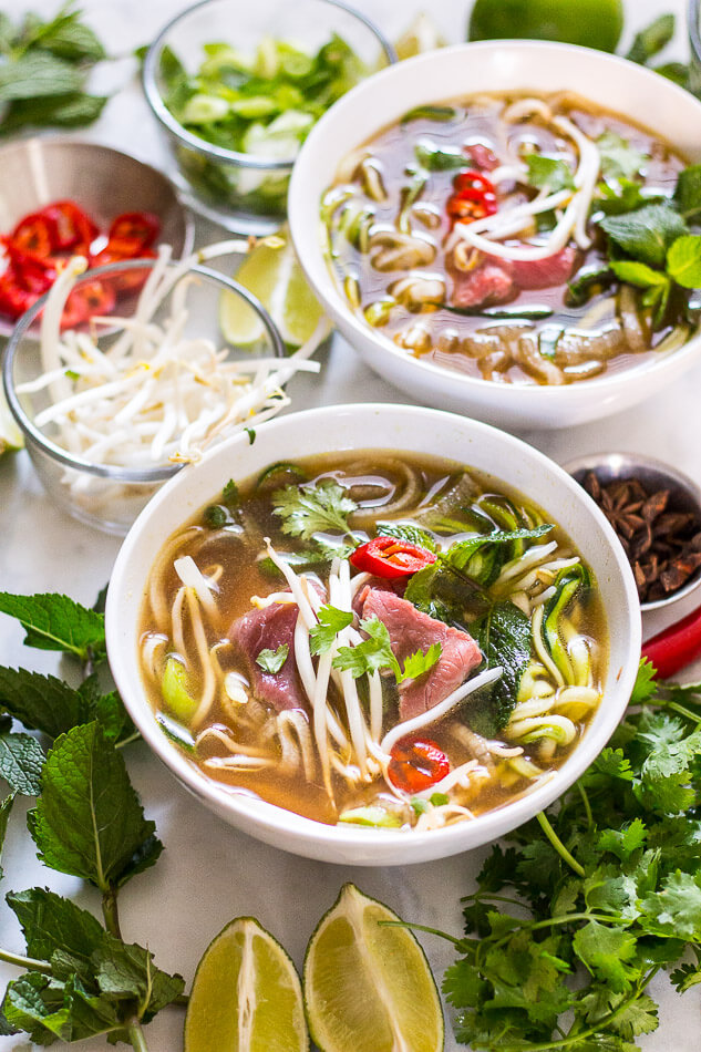 Daikon and Zucchini Noodle Pho Soup | 25+ Zoodle Recipes