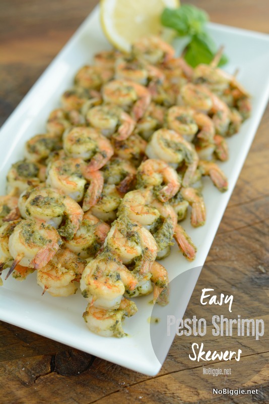 Pesto Shrimp Skewers -  a quick delicious meal using your broiler! #shrimp #shrimpskewers #pestshrimp #appetizers #quickmeals #skewers