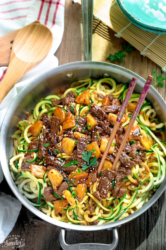 One Pan Mongolian Beef Zoodles | 25+ Zoodle Recipes