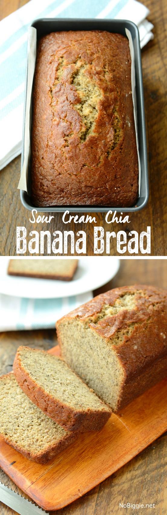 Sour Cream Chia Banana Bread | NoBiggie.net