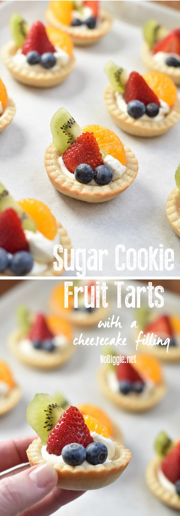 Sugar Cookie Fruit Tarts | These little tarts are so delicious and so easy to make at home, no special pans needed. #tarts #sugarcookiefruittarts #fruittarts #sugarcookies #tartrecipes