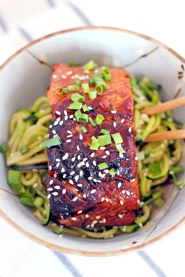 Teriyaki Salmon and Zucchini Noodle Bowls | 25+ Zoodle Recipes