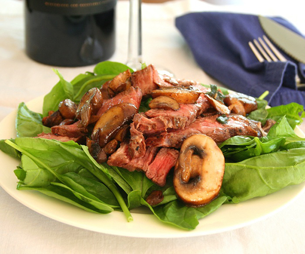 Warm Steak and Mushroom Salad  | 25+ High Protein Recipes