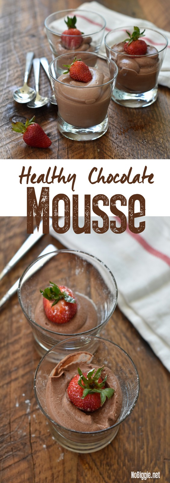 Healthy Chocolate Mousse - Just three ingredients is all you need to make this heavenly and healthy chocolate mousse. #chocolatemousse #healthychocolatemousse #chocolate #healthydesserts