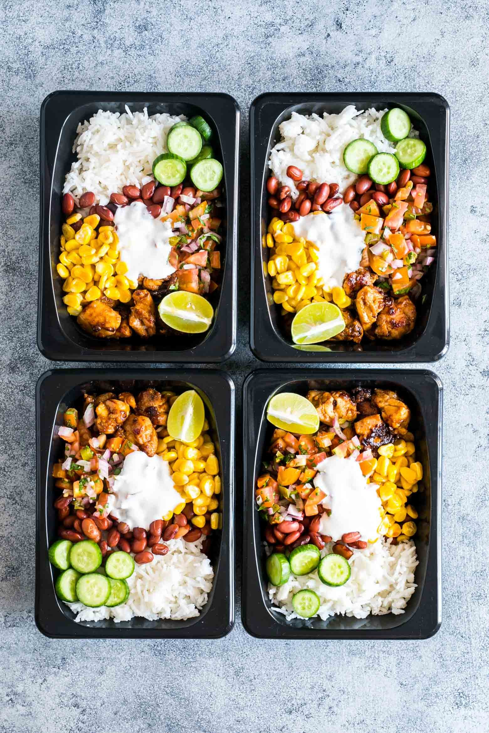 Easy Chicken Burrito Meal Prep Bowls Gluten Free | 25+ healthy meal prep ideas