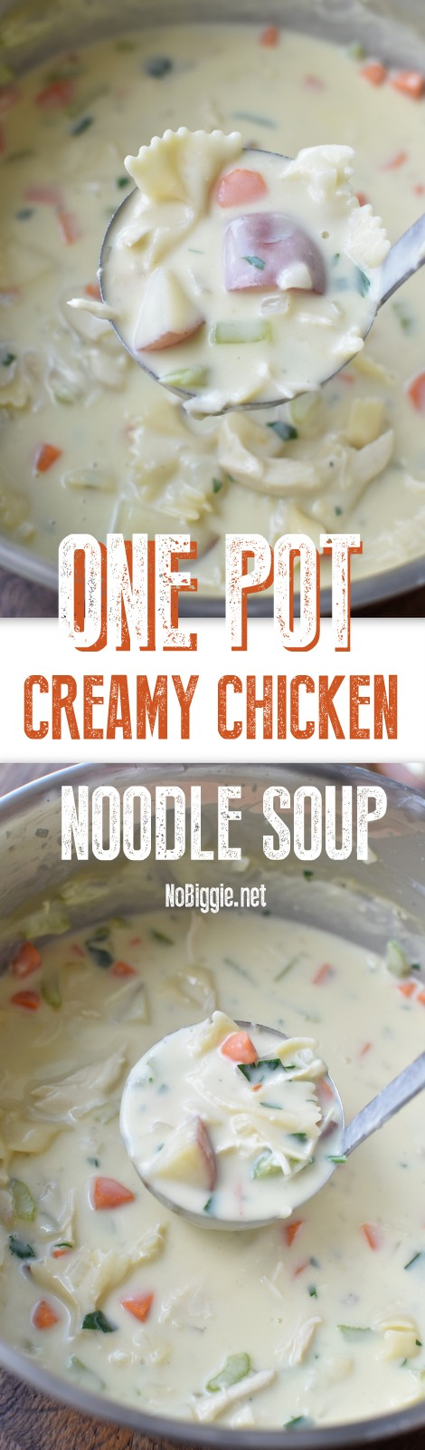 One Pot Creamy Chicken Noodle Soup - We are big fans of a one pot meal the whole family will love, and this one pot creamy chicken noodle soup is just that. #onepotmeals #chickensoup #chickennoodlesoup #creamychickensoup #souprecipes #soup