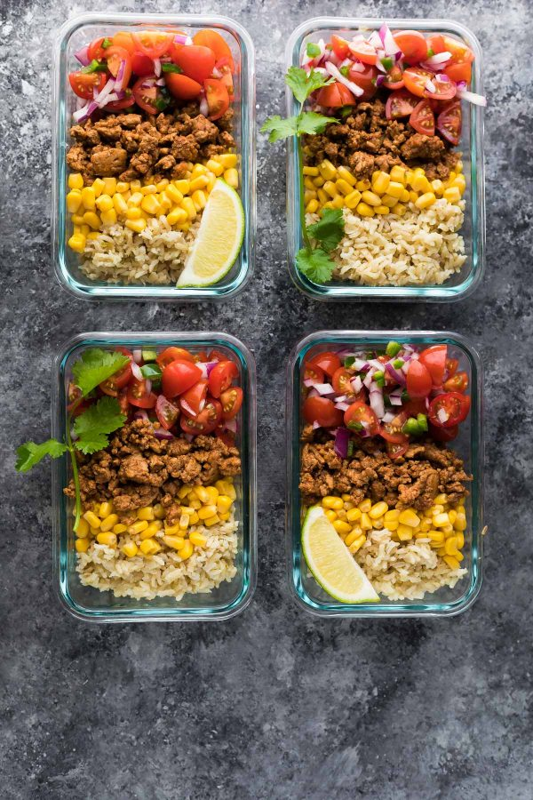 turkey taco lunch bowls | 25+ healthy meal prep ideas