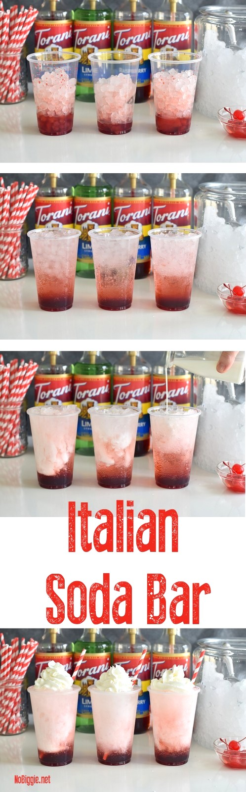 DIY Italian Soda Bar - a fun interactive drink station everyone will love! Try it for your next party. #summerdrinks #italiansodabar #torani #toranisyrups #sodabars