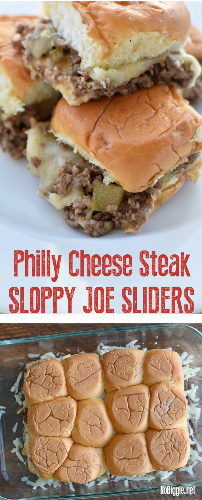 Philly Cheese Steak Sloppy Joe Sliders - a great way to feed a crowd. #phillycheesesteak #sloppyjoeslider #sloppyjoe #crowdpleasers #easymeals