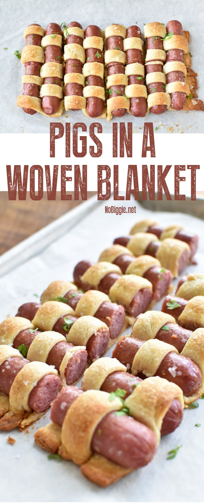 Pigs in a Woven Blanket - A classic served in a fun way! #pigsinablanket #appetizers #classicappetizers #easyrecipes #classicrecipes