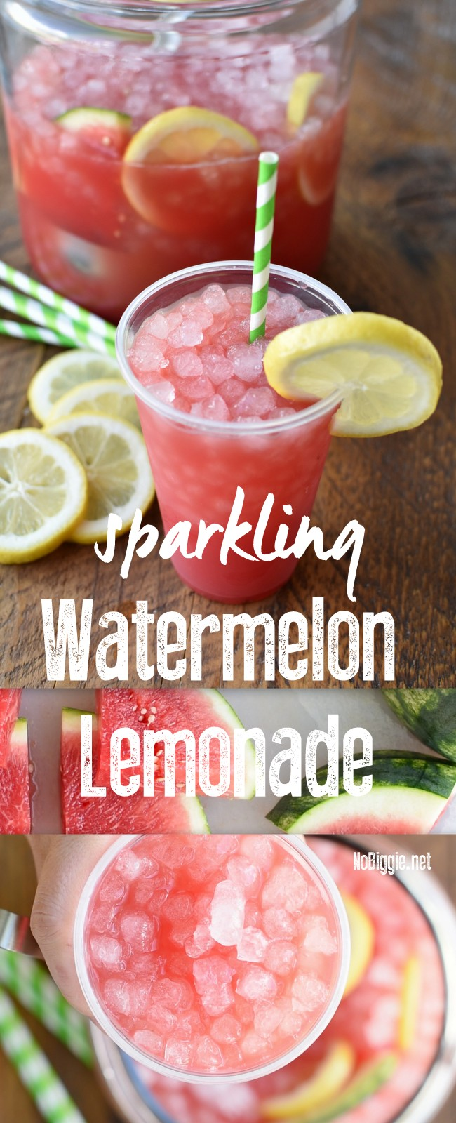 Sparkling Watermelon Lemonade made with fresh watermelon juice and loaded with tons of pebble ice #sparklingwatermelonlemonade #watermelon #lemonade #summerdrinks #Watermelonrecipes