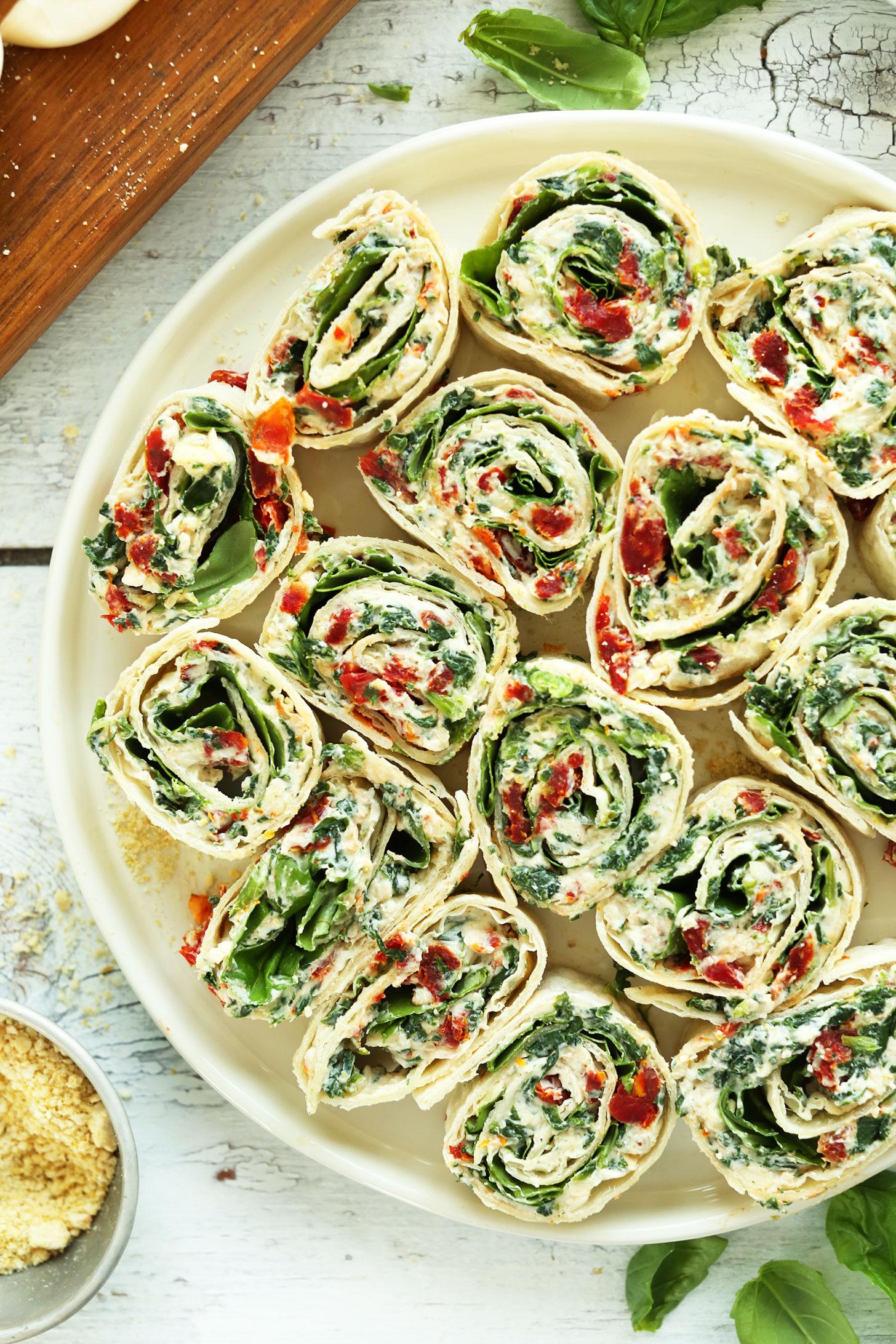 Sun-Dried Tomato and Basil Pinwheels | 25+ Rollups and Pinwheels