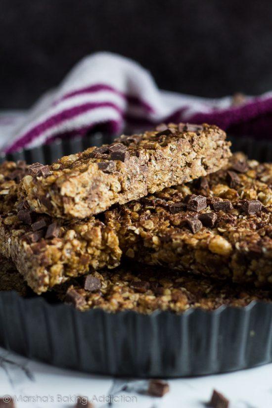 No Bake Chocolate Chip Peanut Butter Granola Bars | 25+ Granola Bars