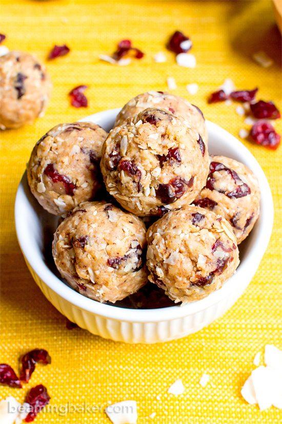 No Bake Cranberry Coconut Energy Bites | 25+ Energy Bites