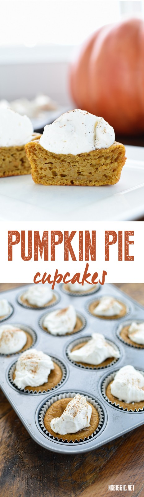Pumpkin Pie Cupcakes...yep! Cupcakes. They're like the perfect blend between our two favorites: pumpkin pie and cupcakes! #pumpkin #pumpkinpiecupcakes #pumpkinpie #cupcakes #cupcakerecipes
