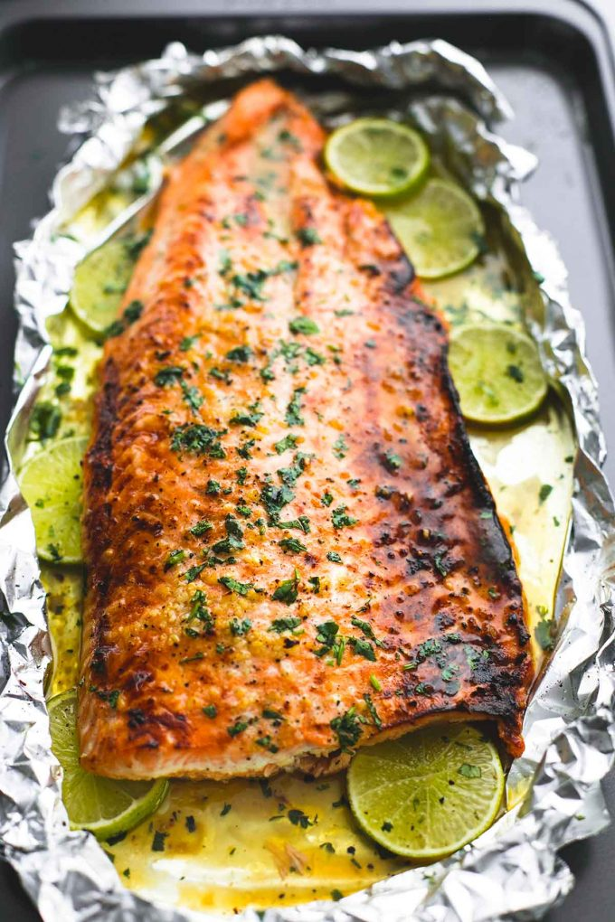 Baked Honey Cilantro Lime Salmon in Foil | 25+ Foil Packet Dinners