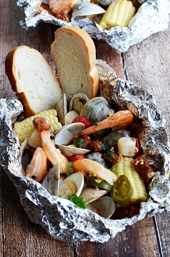 Cilantro-Garlic-Lime Seafood Packets | 25+ Foil Packet Dinners