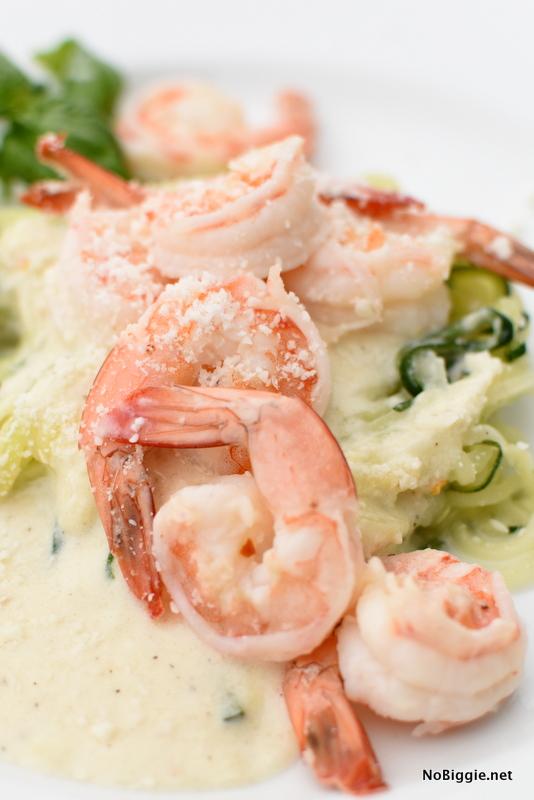 One Pot Creamy Shrimp with Zucchini Noodles | NoBiggie.net
