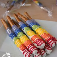 Chocolate-Covered Rainbow Pretzel Rods