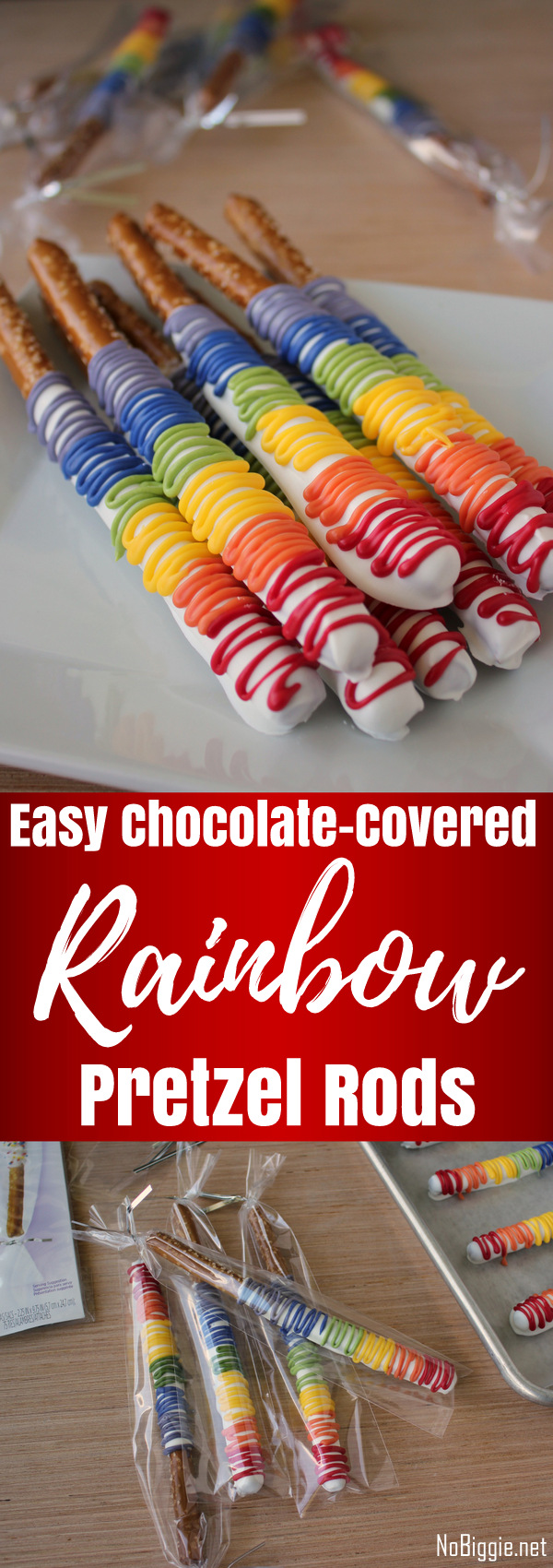 Chocolate-Covered Rainbow Pretzel Rods - Inspired by Rainbow Dash and perfect for a splash of magic. #chocolatecoveredpretzels #rainbowpretzels #mylittlepony #pretzels #rainbowdash