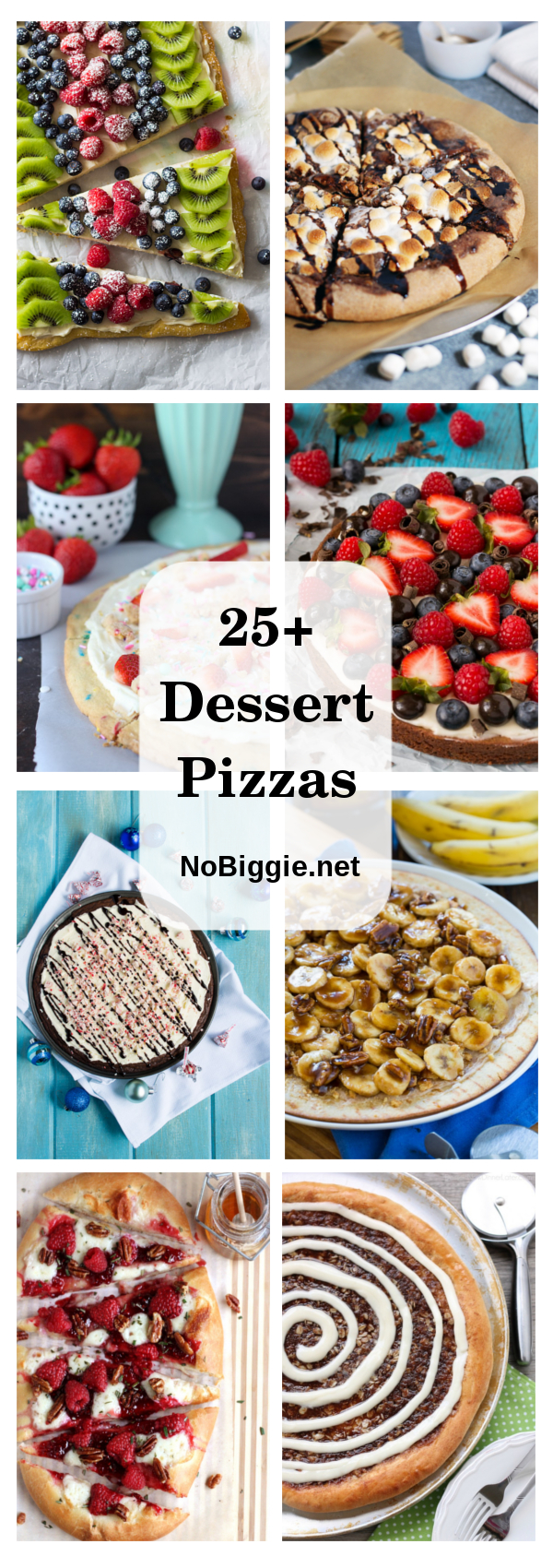 Dessert Pizzas - A great fun way to serve desserts in pizza form because who doesn\'t love pizza! #Pizzadesserts #desserts #creativedesserts #fundesserts #dessertpizza