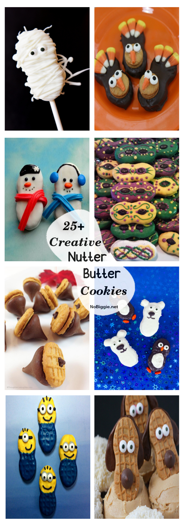 Creative Nutter Butter Cookies - Cute and Festive ways to dress up a classic cookie! #nutterbutter #cookies #creativenutterbuttercookies #cookiedecorating #creativecookies