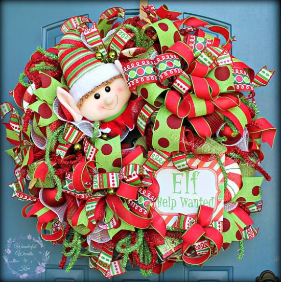 Elf Wreath | 25+ MORE Beautiful Christmas Wreaths