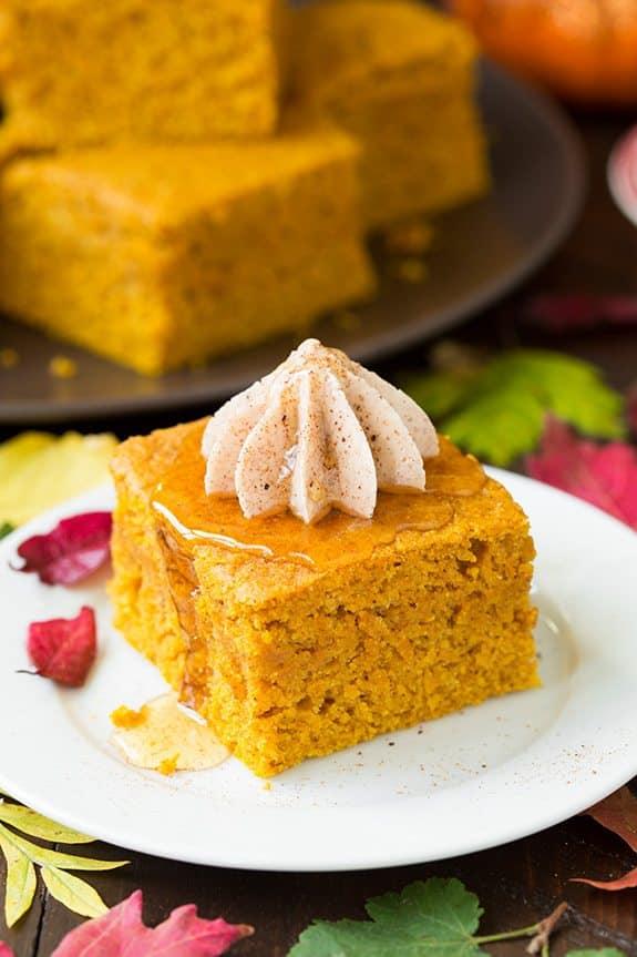 Pumpkin Cornbread with Cinnamon Honey Butter | 25+ Savory Pumpkin Recipes