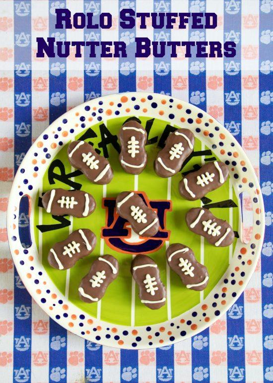 Rolo Stuffed Nutter Butter Footballs   25+ Creative Nutter Butter Cookies
