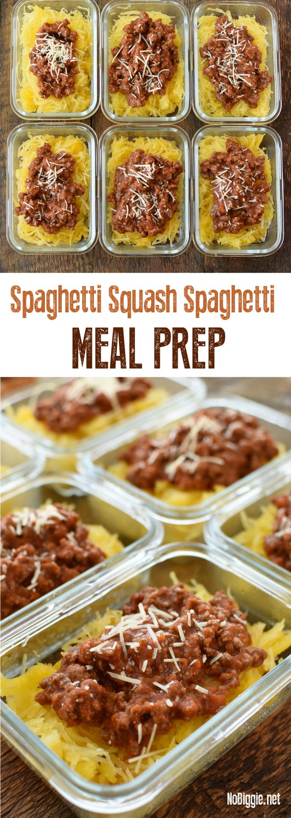 Spaghetti Squash Spaghetti Meal Prep - a healthy meal to get you thru the day! #mealprep #healthyeating #spaghettisquash #squash #mealprepideas