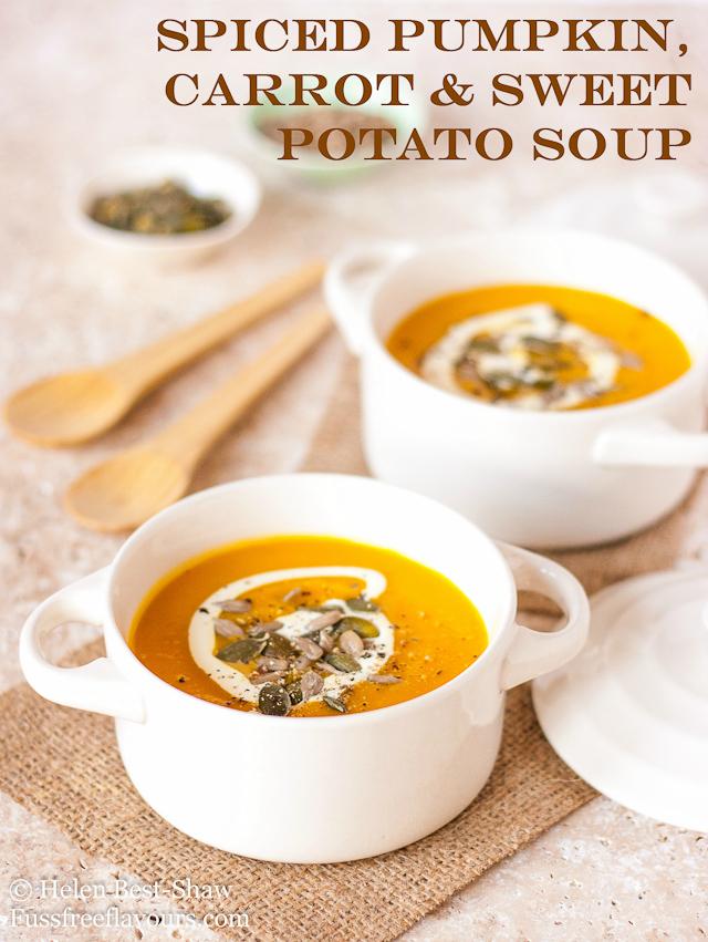 Spiced Pumpkin Carrot and Sweet Potato Soup | 25+ Savory Pumpkin Recipes